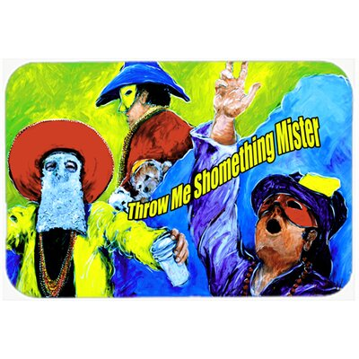 "Mardi Gras Throw Me Something Mister Kitchen/Bath Mat Size: 20"" H x 30"" W x 0.25"" D"