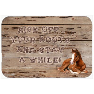 """Kick Off Your Boots and Stay a While Kitchen/Bath Mat Size: 20"""" H x 30"""" W x 0.25"""" D"""