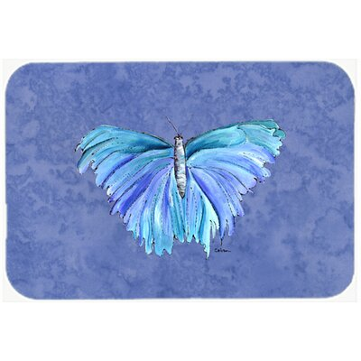 "Butterfly on Slate Kitchen/Bath Mat Size: 20"" H x 30"" W x 0.25"" D"