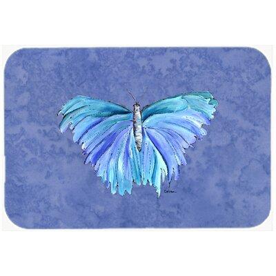 "Butterfly on Slate Kitchen/Bath Mat Size: 24"" H x 36"" W x 0.25"" D"