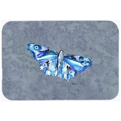 "Butterfly on Gray Kitchen/Bath Mat Size: 24"" H x 36"" W x 0.25"" D"
