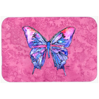 """Butterfly on P Kitchen/Bath Mat Size: 20"""" H x 30"""" W x 0.25"""" D, Color: Pink"""