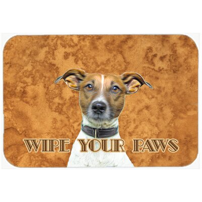 """Jack Russell Terrier Wipe Your Paws Kitchen/Bath Mat Size: 24"""" H x 36"""" W x 0.25"""" D"""