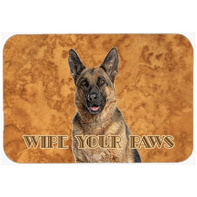 "German Shepherd Wipe Your Paws Kitchen/Bath Mat Size: 24"" H x 36"" W x 0.25"" D"