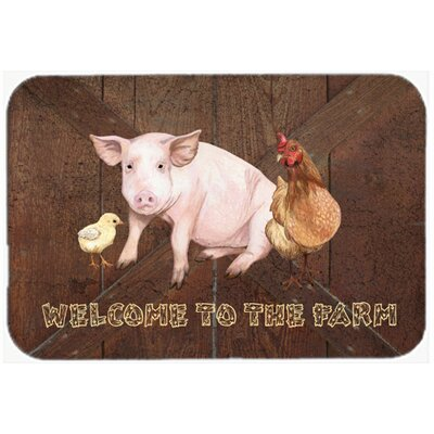 """Welcome To The Farm with The Pig and Chicken Kitchen/Bath Mat Size: 24"""" H x 36"""" W x 0.25"""" D"""