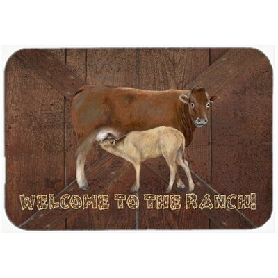 """Welcome To The Ranch with The Cow and Baby Kitchen/Bath Mat Size: 24"""" H x 36"""" W x 0.25"""" D"""