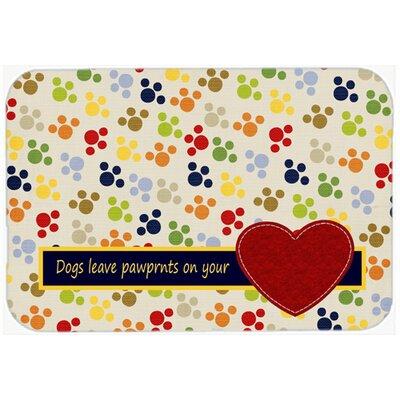 "Dogs Leave Pawprints on Your Heart Kitchen/Bath Mat Size: 20"" H x 30"" W x 0.25"" D"