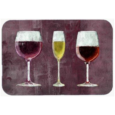 """Three Glasses Of Wine Purple Kitchen/Bath Mat Size: 20"""" H x 30"""" W x 0.25"""" D"""
