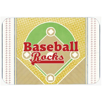 "Baseball Rocks Kitchen/Bath Mat Size: 20"" H x 30"" W x 0.25"" D"