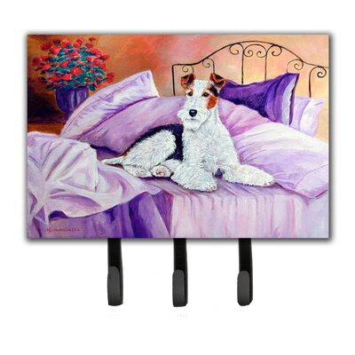 Fox Terrier Waiting on Mom Leash Holder and Key Hook