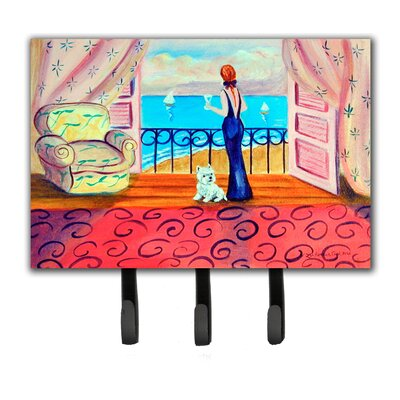 Westie with Mom and a View Leash Holder and Key Hook