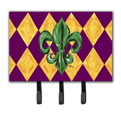 Mardi Gras Fleur De Lis Leash Holder and Key Hook