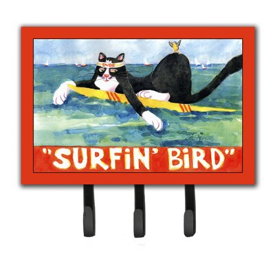Cat Surfin Bird Leash Holder and Key Hook