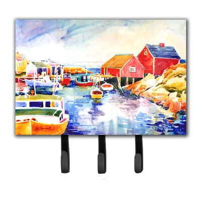 Boats at Harbour with a View Leash Holder and Key Hook
