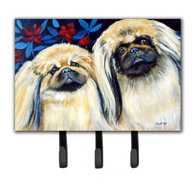 What a Pair of Pekingese Leash Holder and Key Hook