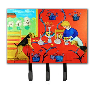 Aiale Terrier with Lady in The Kitchen Leash Holder and Key Hook