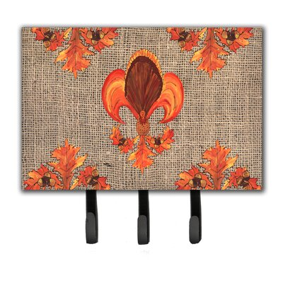Thanksgiving Turkey Fleur De Lis Leash Holder and Key Holder