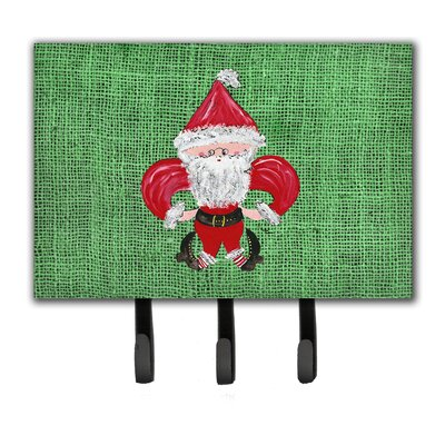 Christmas Santa Fleur De Lis Leash Holder and Key Hook