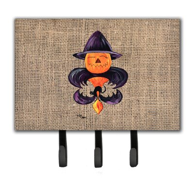 Halloween Pumpkin Bat Fleur De Lis Leash Holder and Key Holder