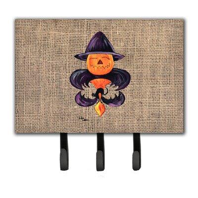 Halloween Pumpkin Bat Fleur De Lis Leash Holder and Key Holder