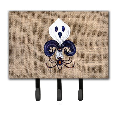 Halloween Ghost Spider Bat Fleur De Lis Leash Holder and Key Holder