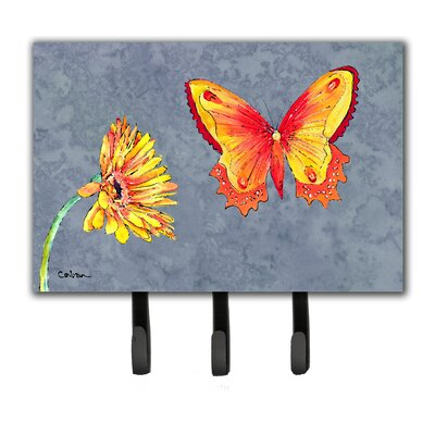 Gerber Daisy and Buttefly Leash Holder and Key Hook