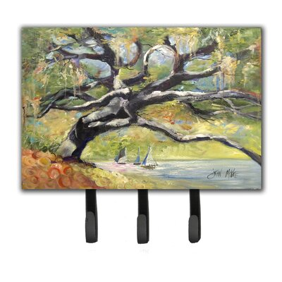 Oak Tree on The Bay with Sailboats Leash Holder and Key Hook