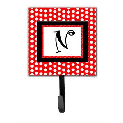 Monogram Polka Dots Wall Hook Letter: N