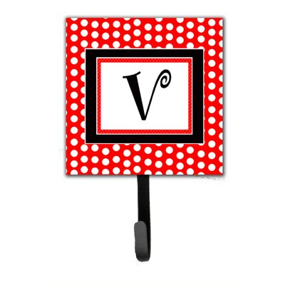 Monogram Polka Dots Wall Hook Letter: V