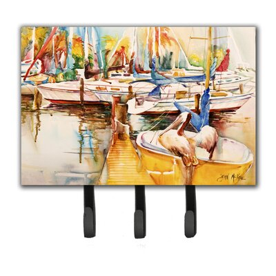 Sailboat with Pelican Golden Days Leash Holder and Key Hook