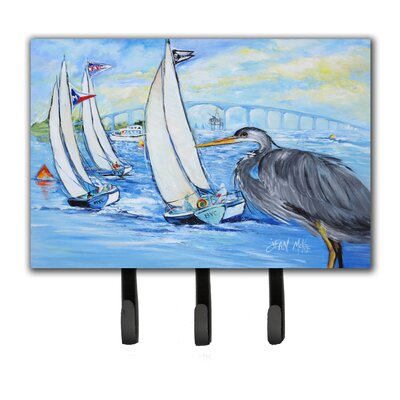Heron Sailboats Dog River Bridge Leash Holder and Key Hook