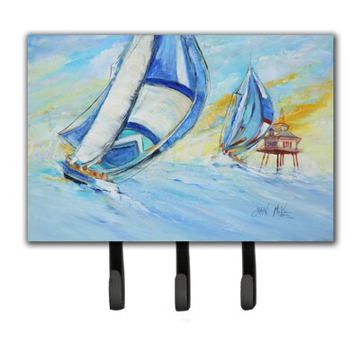 Sailboats and Middle Bay Lighthouse Leash Holder and Key Hook