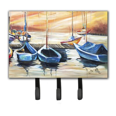 Beach View with Sailboats Leash Holder and Key Hook