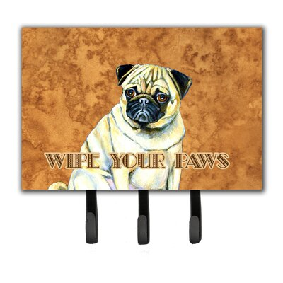 Fawn Pug Wipe Your Paws Leash Holder and Key Hook