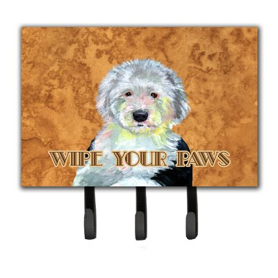 Old English Sheepdog Wipe Your Paws Leash Holder and Key Hook