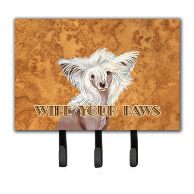 Chinese Crested Wipe Your Paws Leash Holder and Key Hook