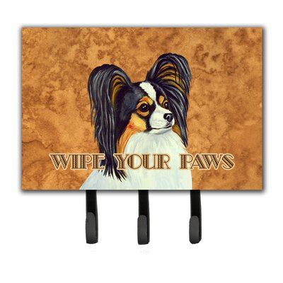 Papillon Wipe Your Paws Leash Holder and Key Hook