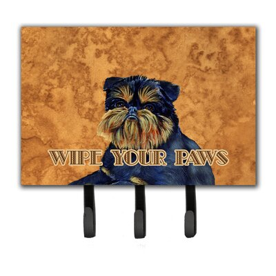 Brussels Griffon Wipe Your Paws Leash Holder and Key Hook