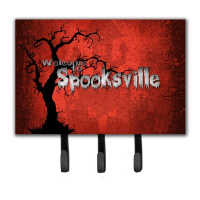 Welcome To Spooksville Halloween Leash Holder and Key Hook