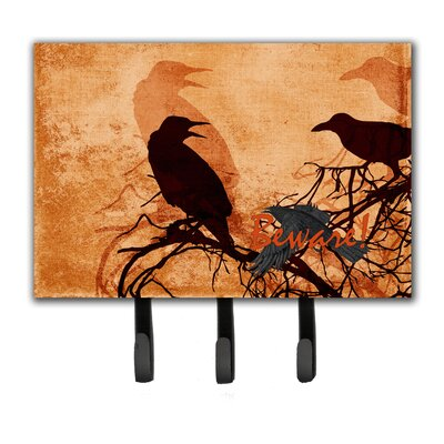 Beware of The Crows Halloween Leash Holder and Key Hook
