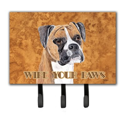 Boxer Wipe Your Paws Leash Holder and Key Hook