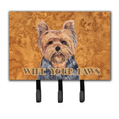 Yorkie Wipe Your Paws Leash Holder and Key Hook