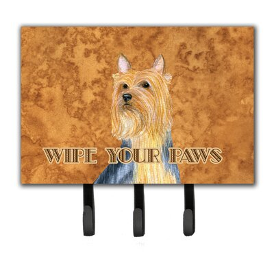 Silky Terrier Wipe Your Paws Leash Holder and Key Hook
