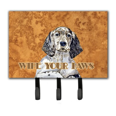English Setter Wipe Your Paws Leash Holder and Key Hook