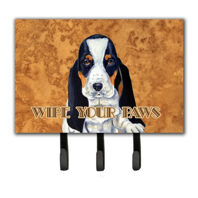 Basset Hound Wipe Your Paws Leash Holder and Key Hook