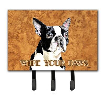 Boston Terrier Wipe Your Paws Key Holder