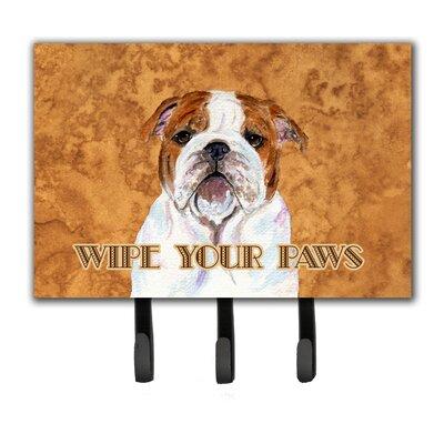 Bulldog English Wipe Your Paws Leash Holder and Key Holder