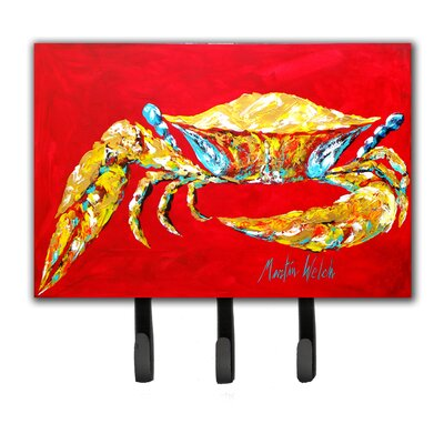 Crab Blue on Red, Sr Leash Holder and Key Hook