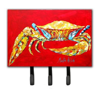Crab Blue on Red, Sr Leash Holder and Key Hook