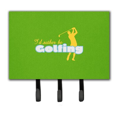 I'd Rather Be Golfing Man on Green Leash Holder and Key Hook
